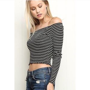Brandy Melville Off The Shoulder Striped Long Crop